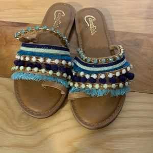 Candies jeweled and fringed toe sandals. 6